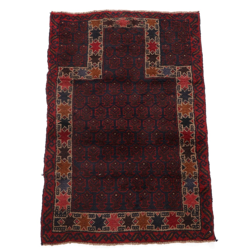 2'10 x 4'6 Hand-Knotted Afghan Tribal Balouch Wool Rug