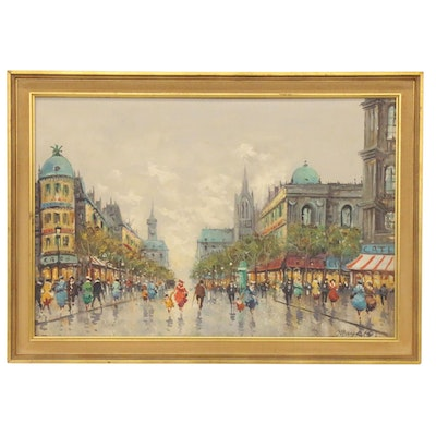 Impressionist Style Oil Painting of Paris Street Scene, Late 20th Century