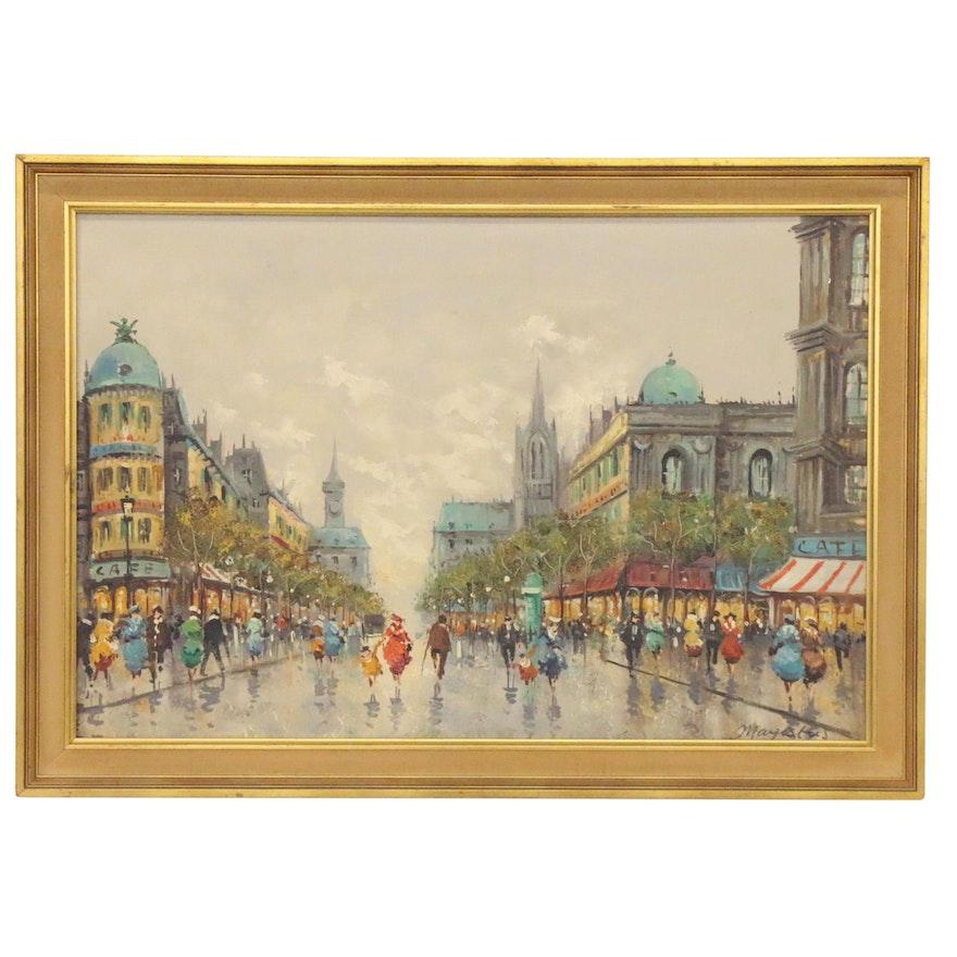 Impressionist Style Oil Painting of Paris Street Scene, Late 20th Century