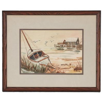 Watercolor Painting of Boat at the Shore