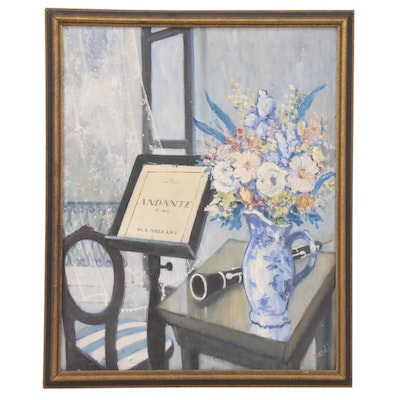 Elemér Kézdi-Kovács Still Life Oil Painting with Note Stand and Clarinet