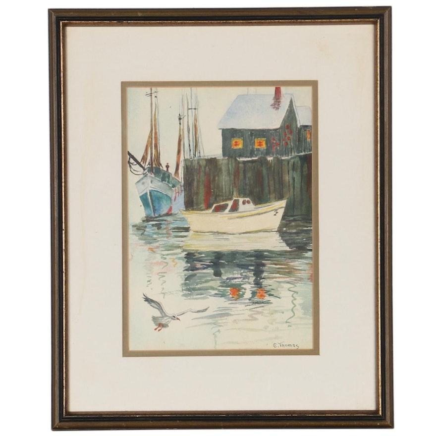 Nautical Watercolor Painting of Marina
