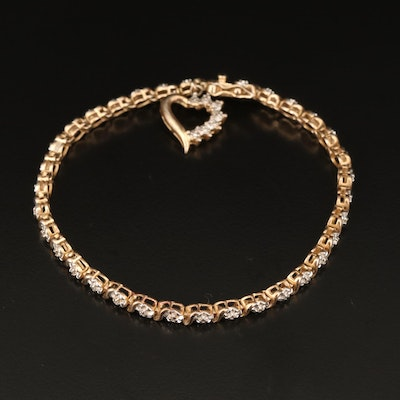 Sterling Silver Diamond Fancy Link Bracelet with Heart Charm
