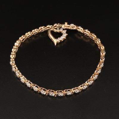 Sterling Silver Diamond Fancy Link Bracelet with Heart Charm