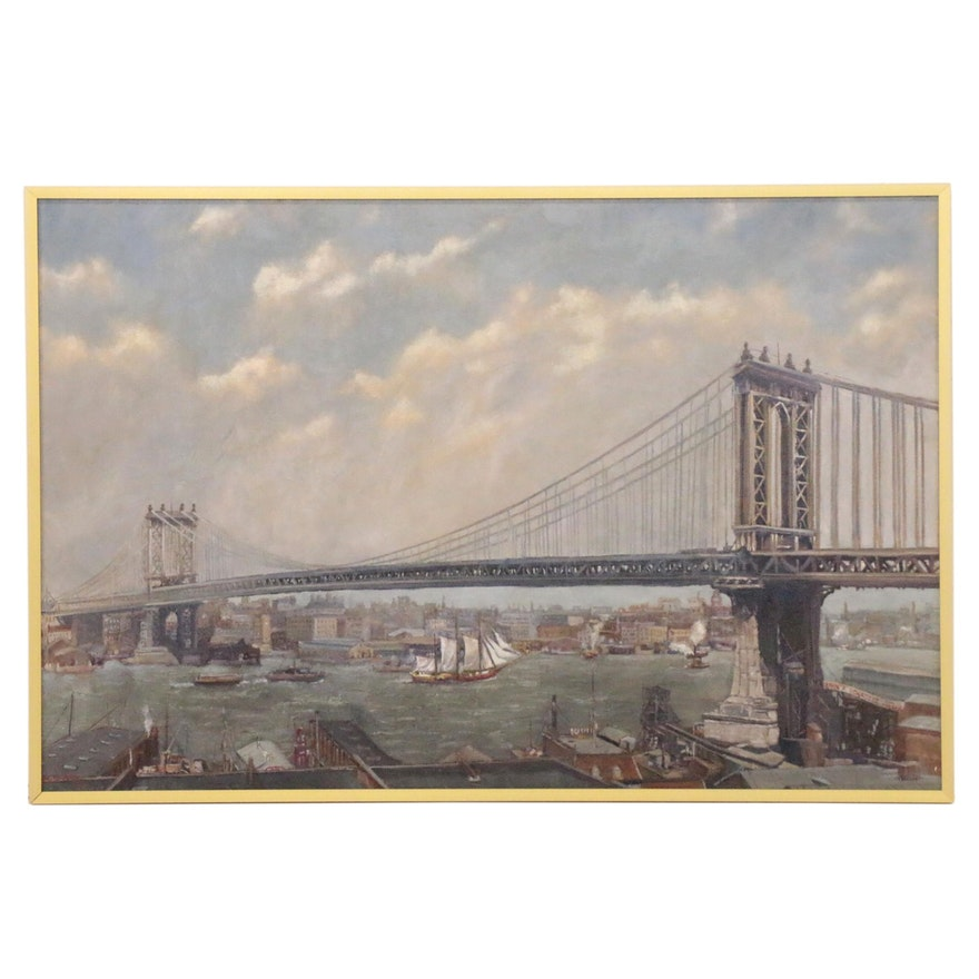 Fritz Keck Oil Painting of Manhattan Bridge, 21st Century