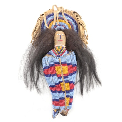 Plateau Style Seed Bead and Buckskin Doll on Cradleboard