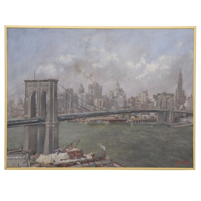 Fritz Keck Oil Painting View of Manhattan