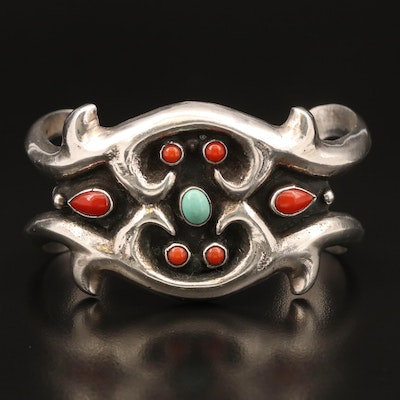 Sterling Silver Turquoise and Coral Cuff