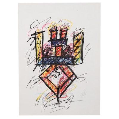 """Keith Sonnier Color Lithograph """"Clar,"""" 1981"""