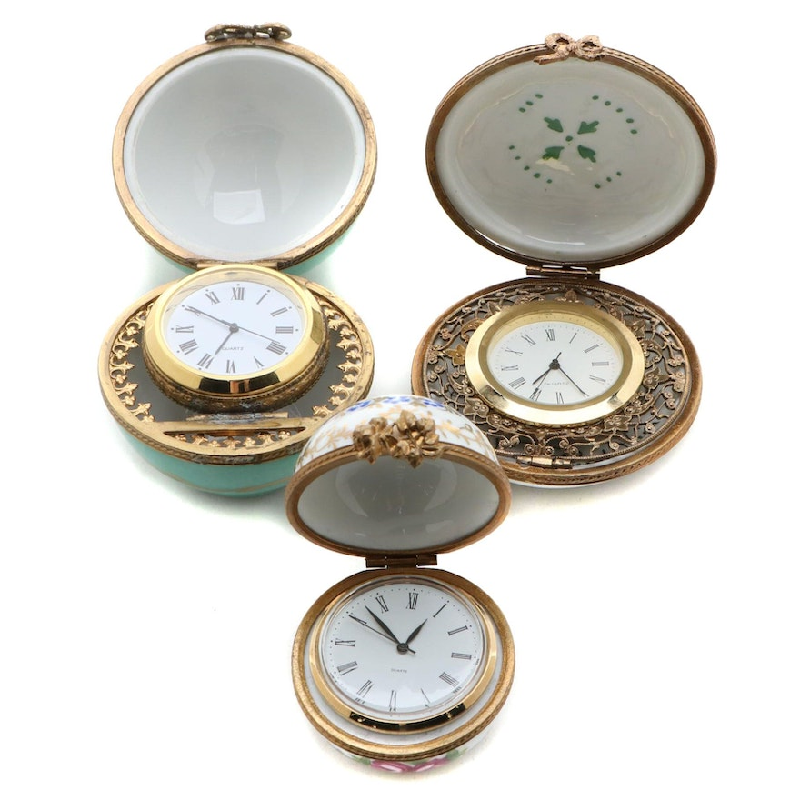 Hand-Painted Porcelain Limoges Clocks, Mid to Late 20th Century