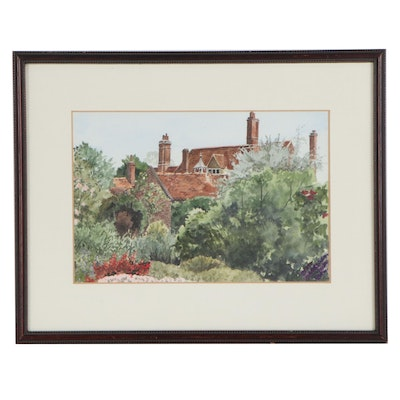 "Mabel Mildred Bate Watercolor Painting ""The Dower House, Goodnestone"""