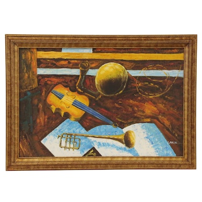 Modernist Style Still Life with Musical Instruments, Mid-Late 20th Century