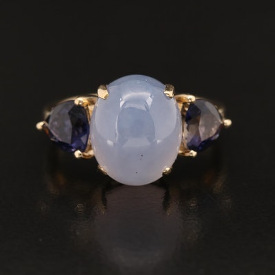 14K Chalcedony and Iolite Three Stone Ring