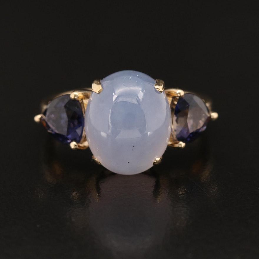 14K Chalcedony and Iolite Three Stone Ring