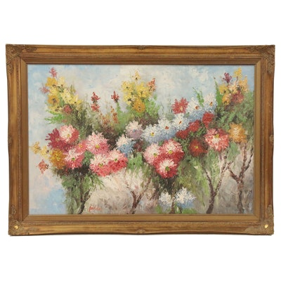 Impressionist Style Impasto Oil Painting of Wildflowers, Late 20th Century