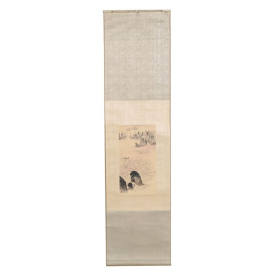 Japanese Woodblock Hanging Scroll of Ships at Sea