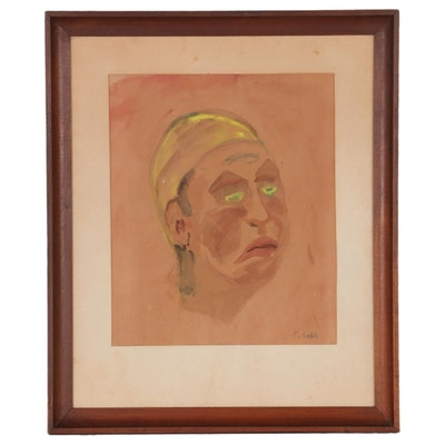 Expressionist Style Watercolor Portrait, Mid-20th Century