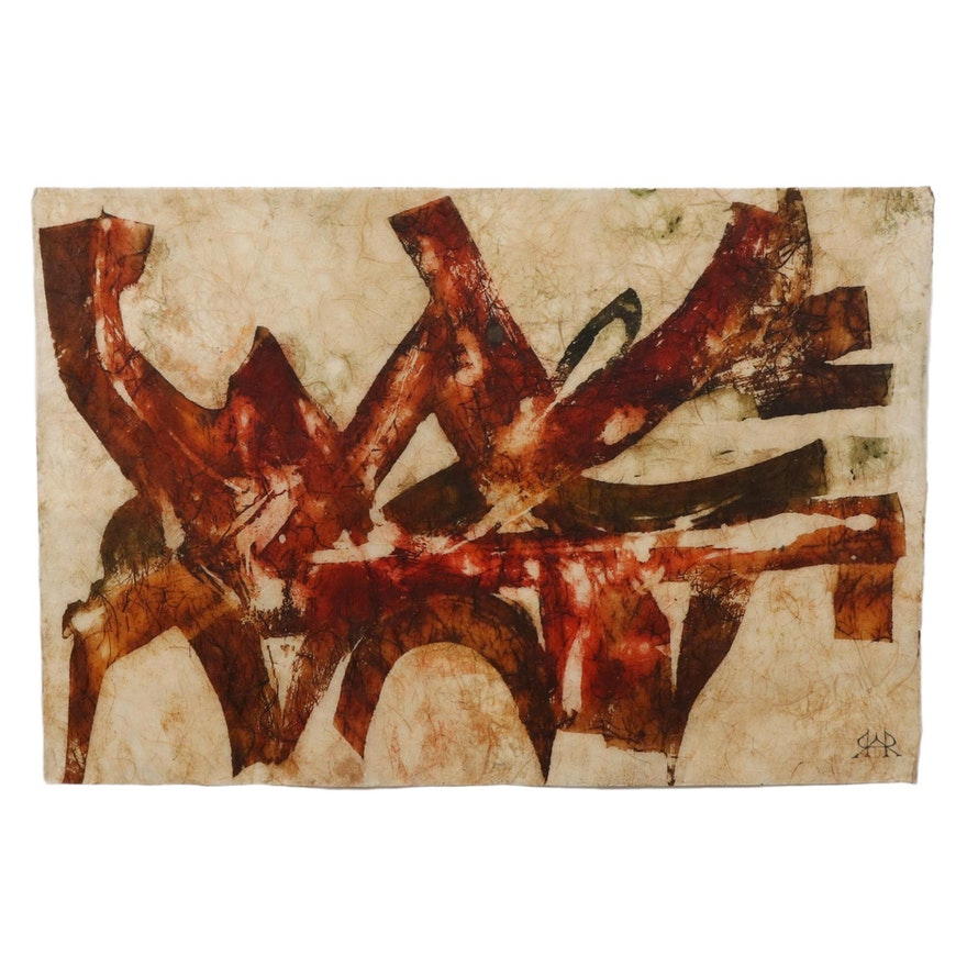 Non-Objective Abstract Mixed Media Painting on Handmade Paper