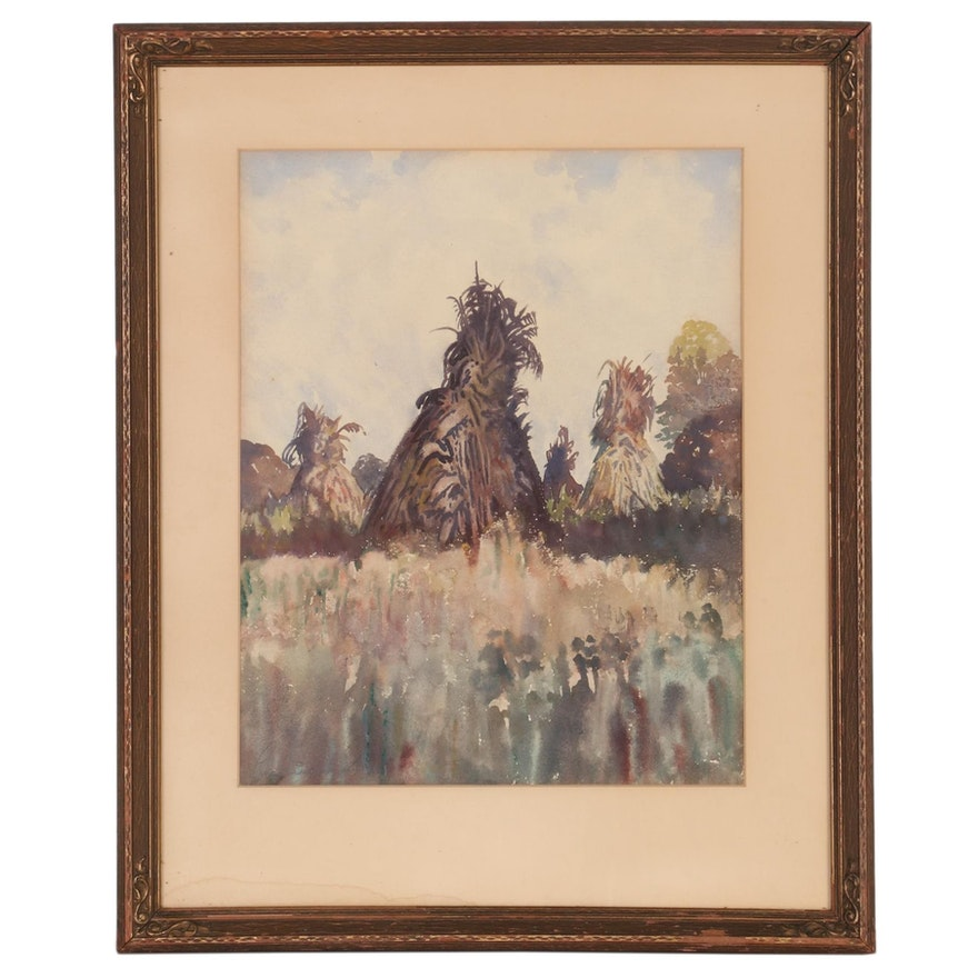 "Landscape Watercolor Painting ""The Promise Kept,"" 1941"