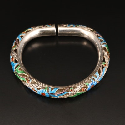 Sterling Enamel Floral Openwork Bangle