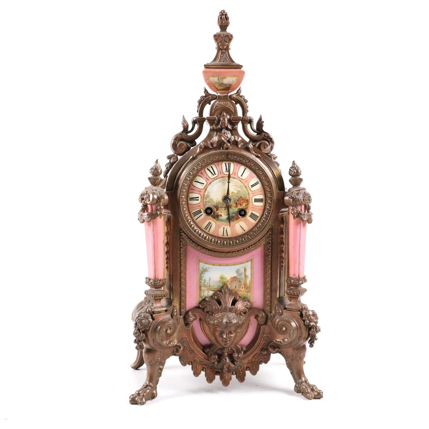 Bronze Tone French Empire Clock, Early 20th Century