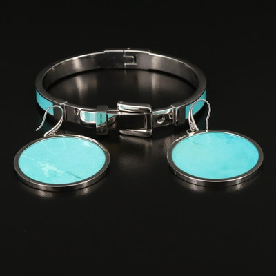 Michael Kors Enamel Buckle Bracelet and Magnesite Disk Earrings