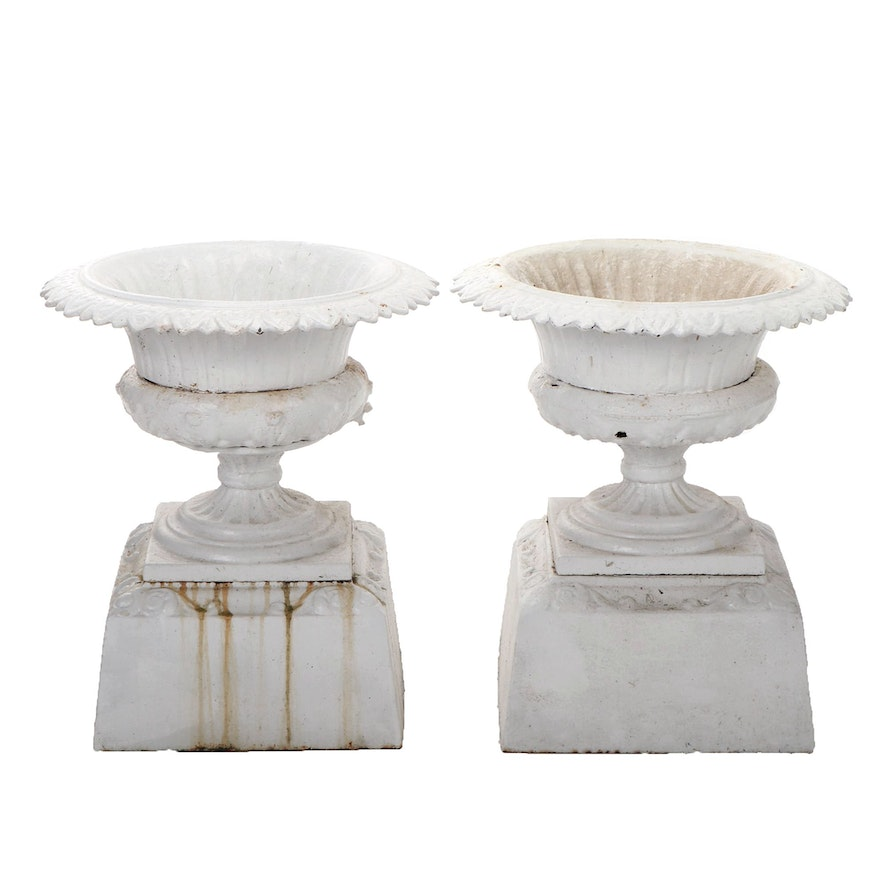 Pair of Cast Iron White Fern Planters, Early 20th Century