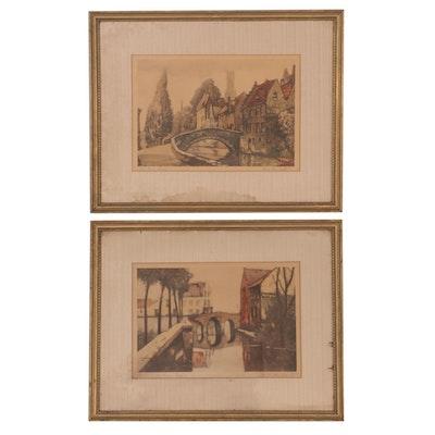 Lithographs after Julien van Santen and Alfred van Nesten of European Canals