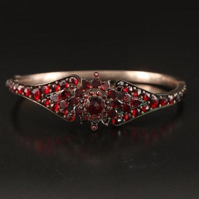 Garnet Hinged Bracelet