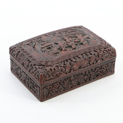 Chinese Cinnabar Style Painted Box with Landscape Scene