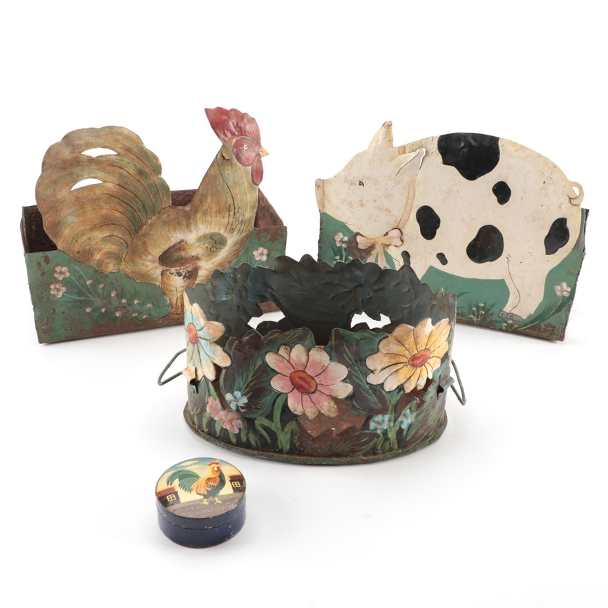 Painted Metal Hanging Herb Baskets with Lacquered Papier-Mâché Box