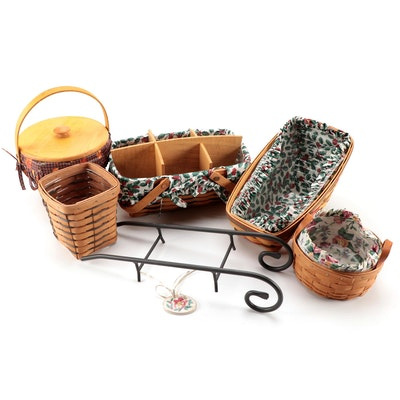 Longaberger Baskets with Inserts, Fabric Liners and Basket Charm