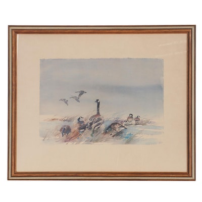 Offset Lithograph after Edward Walaitis of Canada Geese, Late 20th Century