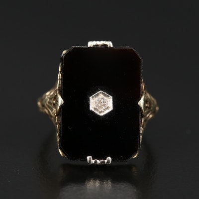 14K Art Deco Black Onyx and Diamond Ring