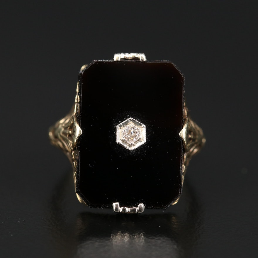 14K Art Deco Black Onyx and Diamond Ring