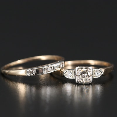 Art Deco 14K Diamond Ring Set with Box