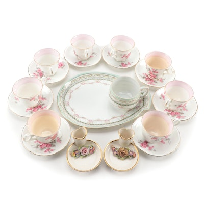 Royal Crown Teacups and Saucers with Other Bone China Table Accessories