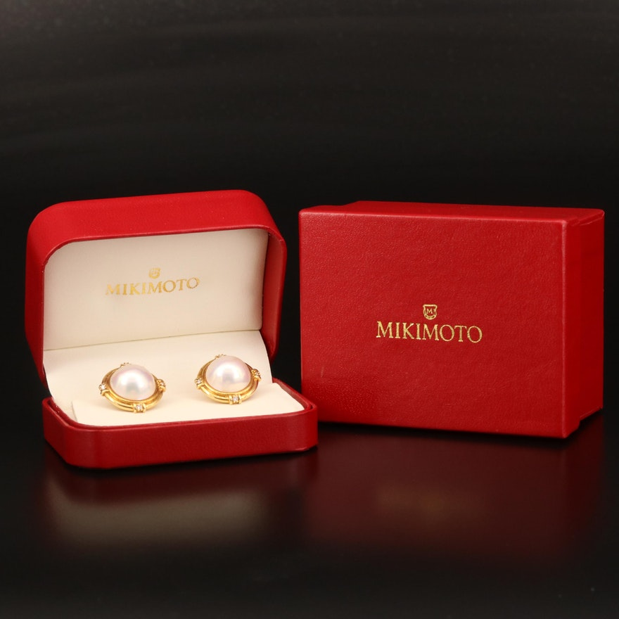 Mikimoto 18K Mabé Pearl and Diamond Earrings with Box