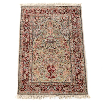 4'0 x 6'4 Hand-Knotted Persian Kerman Silk Prayer Rug