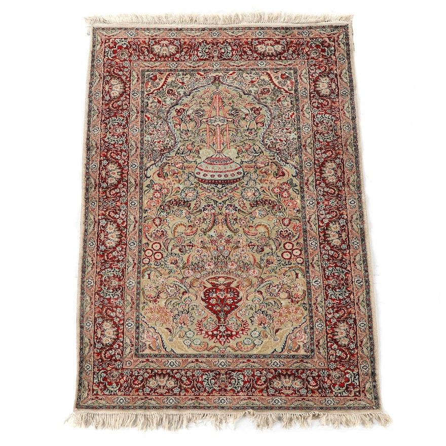 4'0 x 6'4 Hand-Knotted Persian Kerman Silk Prayer Rug