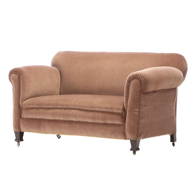 Brown Velveteen-Upholstered Loveseat, 20th Century