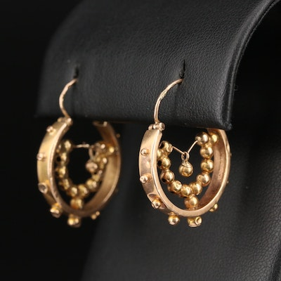 Mid-Victorian Etruscan Revival 14K Hoop Earrings