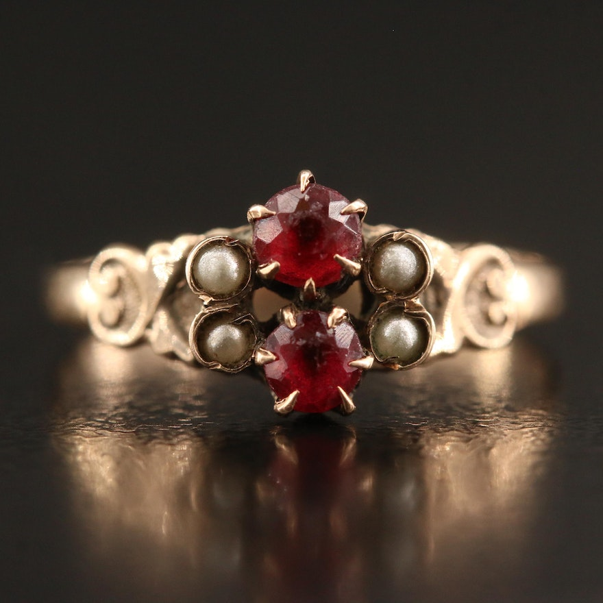 Victorian Red Glass and Faux Pearl Ring