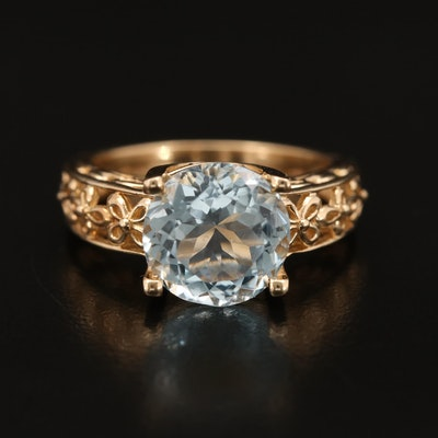 10K Aquamarine Openwork Ring