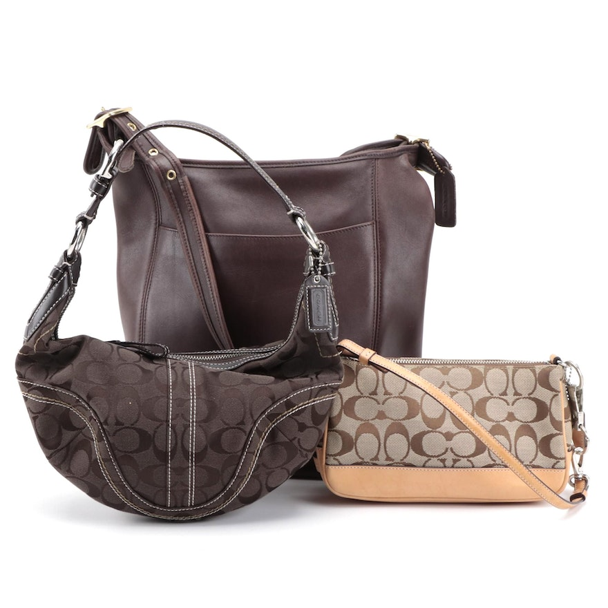 Coach Brown Leather Duffle Sac with Signature Shoulder Bag and Accessory Pouch