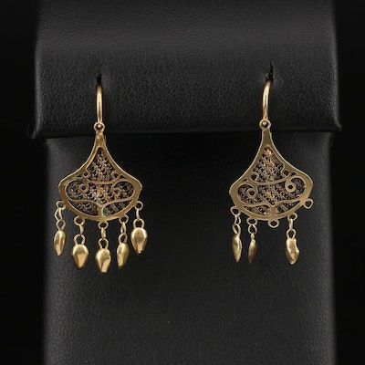 18K French Second Empire Wirework Earrings