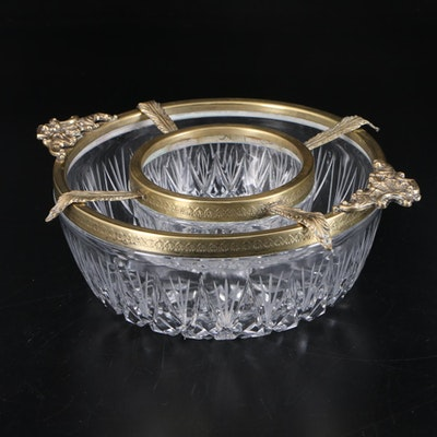 Crystal and Brass Caviar Serving Bowl, Mid-20th Century