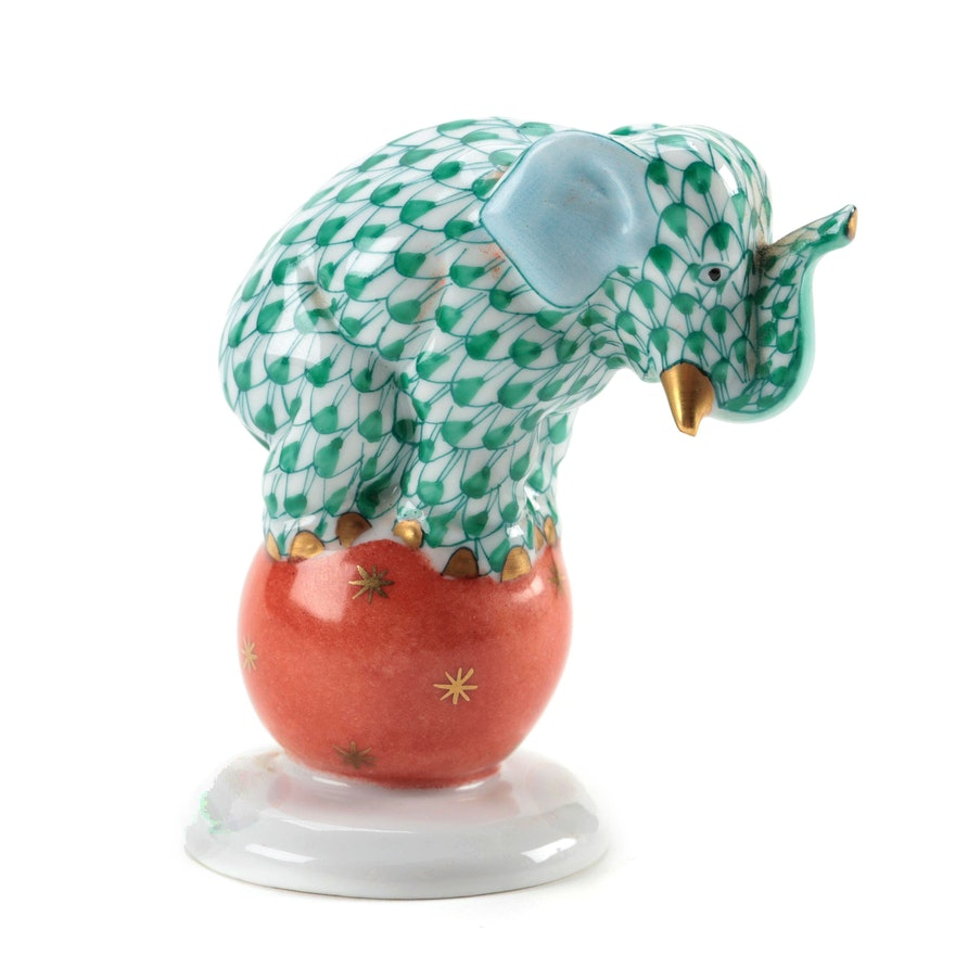 """Herend Green Fishnet with Gold """"Elephant on Ball"""" Porcelain Figurine"""