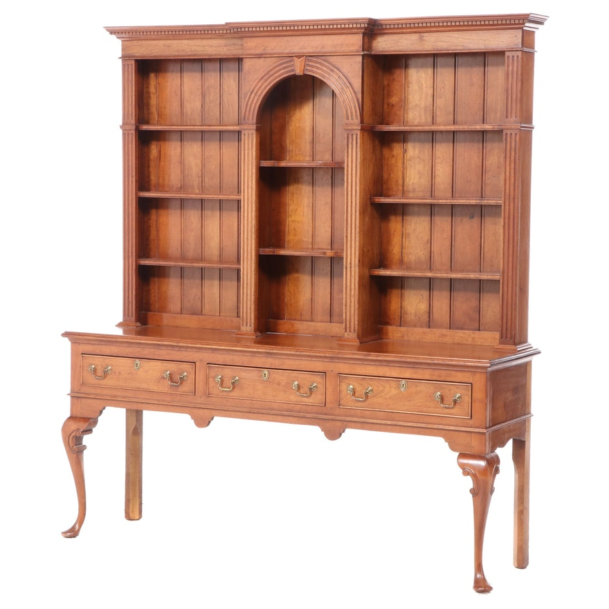 Queen Anne Style Walnut Pewter Cupboard, 19th Century and Later