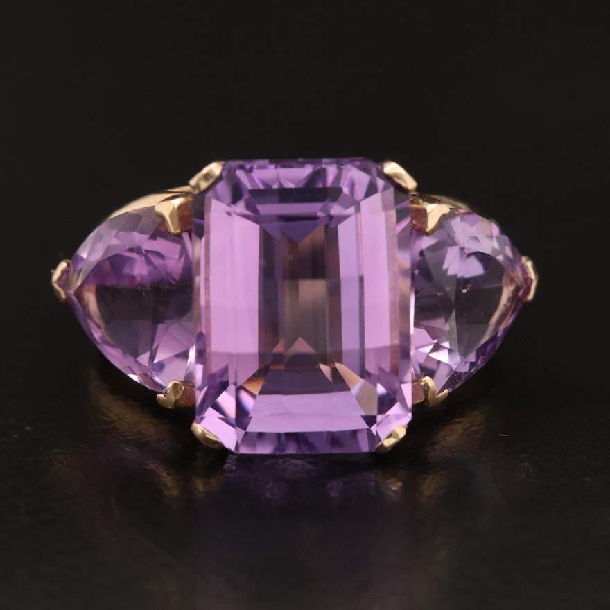 14K Amethyst Three Stone Ring